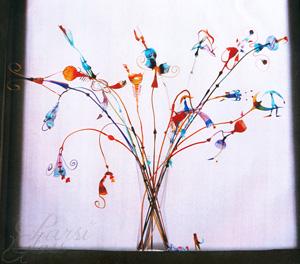 Parsi Glass, skleněná kytice, maturitní práce, foukané sklo, umělecké sklo