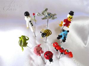 Parsi Glass, skleněný ozdobný špendlík, skleněná miniatura, figurky, zvířátka, české sklo, tradiční sklářská výroba