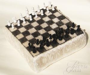 Parsi Glass, skleněný ozdobný špendlík, šachy na špendlíku, cestovní šachy, hračky ze skla