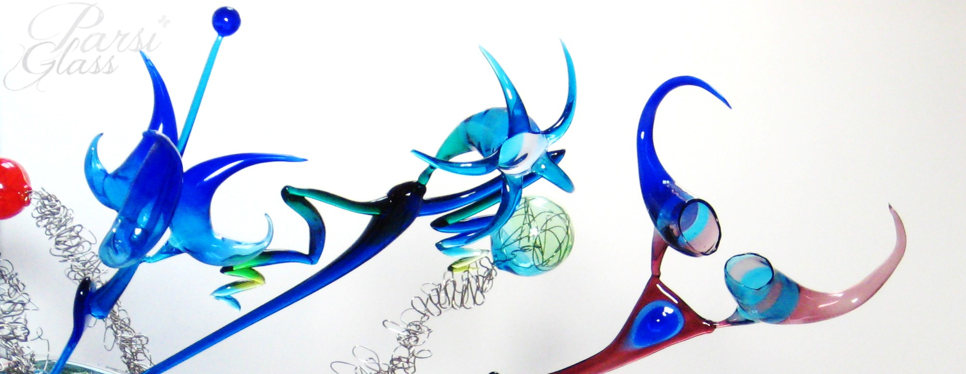 Parsi Glass, skleněné květiny, sklo, dekorace, umělecké sklo