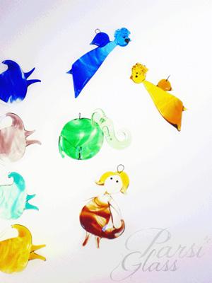 Parsi Glass, skleněné květiny, sklo, závěsná dekorace, umělecké sklo